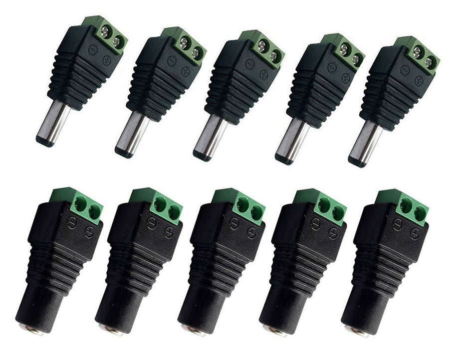 Useful DC Barrel Jack Adapters - 5 Male and 5 Female from PMD Way with free delivery worldwide