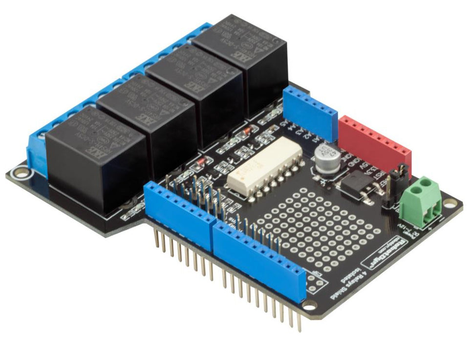 Incredibly useful Deluxe Four Relay Shield with External Power for Arduino from PMD Way with free delivery, worldwide