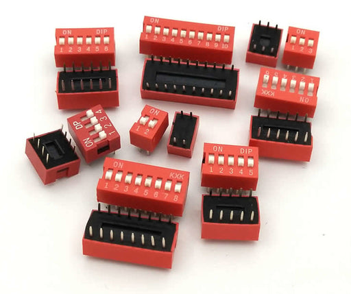 Through Hole DIP Switches in packs of ten from PMD Way with free delivery worldwide