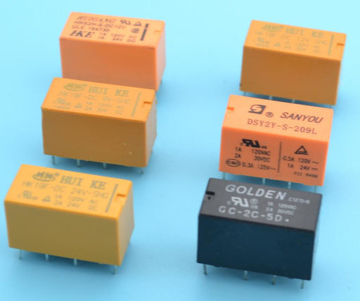 PCB Mount DPDT Relays in packs of two from PMD Way with free delivery worldwide
