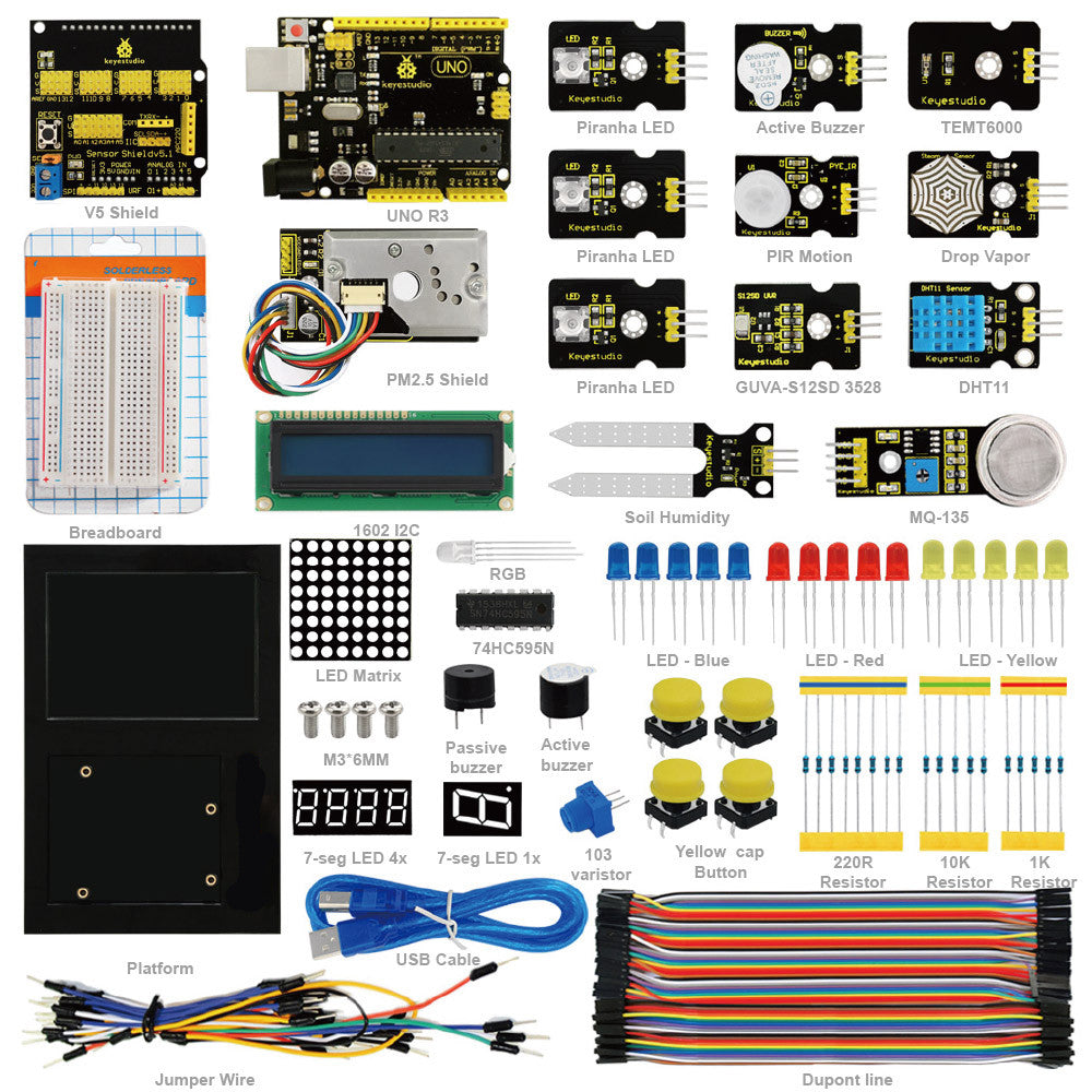 Learn about Environment Monitoring with this great Starter Kit for Arduino from PMD Way with free delivery, worldwide