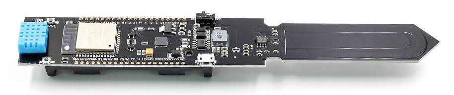 Monitor soil moisture, ambient temperature and humidity over WiFi with the ESP32 HiGrow-type Soil Sensor Board from PMD Way with free delivery worldwide