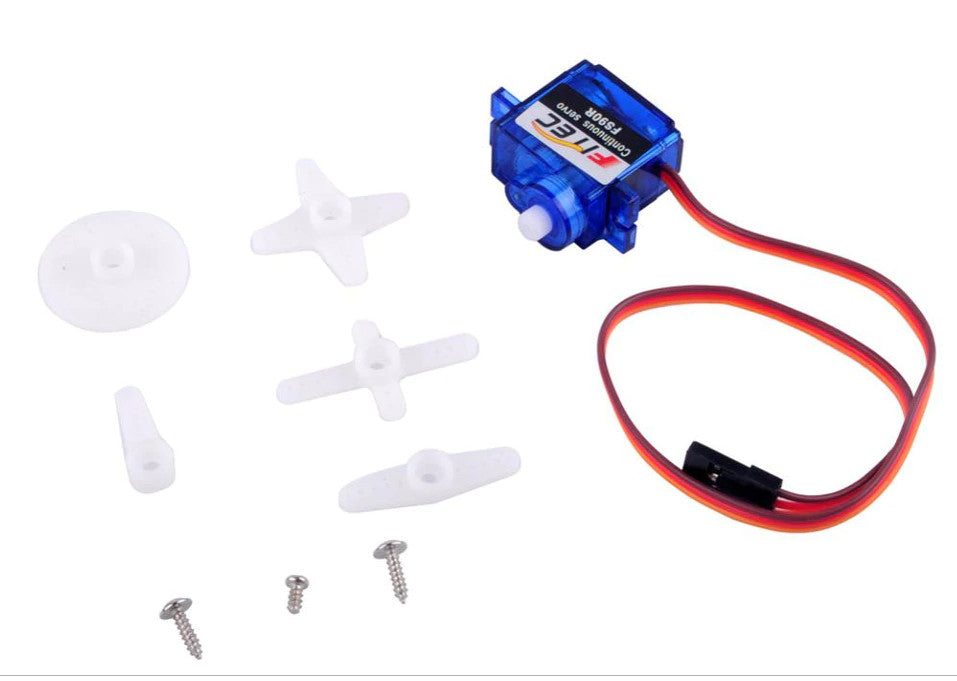 FS90R 360 Degree Continuous Rotation Servo and Wheel - Four Pack from PMD Way with free delivery worldwide