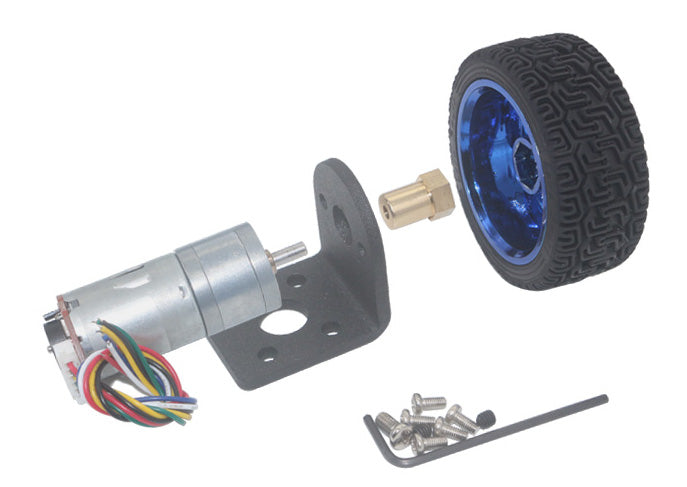 Gear Motor with Encoder and Matching Wheel from PMD Way with free delivery worldwide