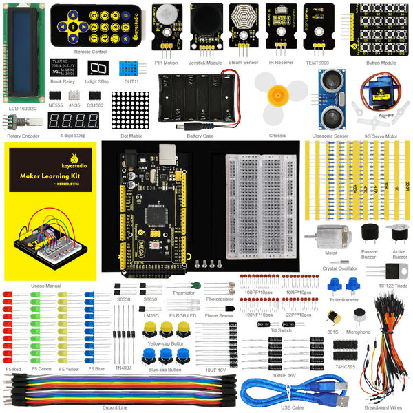 Get started with Arduino now using the Mega Maker Starter Kit for Arduino from PMD Way with free delivery, worldwide
