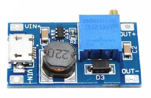 DC-DC Adjustable Boost Module with micro USB input 2-24V to 5-28V in packs of five from PMD Way with free delivery worldwide