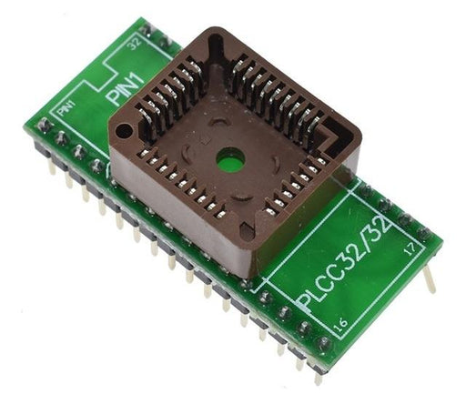 Easily use PLCC32 ICs in solderless breadboards or PCBs with our PLCC32 to DIP32 Adaptor Board from PMD Way with free delivery wordlwide