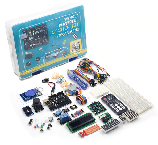 Anyone can learn about coding and electronics - without soldering - using the Powerful Beginners Starter Kit for Arduino from PMD Way, with free delivery worldwide