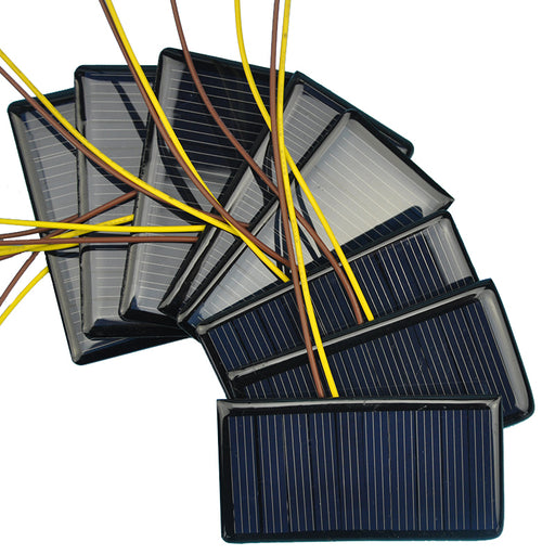 Prewired 5V 60mA Solar Panels in packs of ten from PMD Way with free delivery worldwide