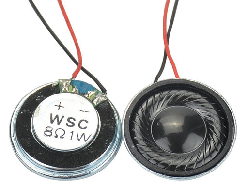 Prewired 28mm 8 Ohm 1 Watt Mini Speakers in packs of ten from PMD Way with free delivery worldwide