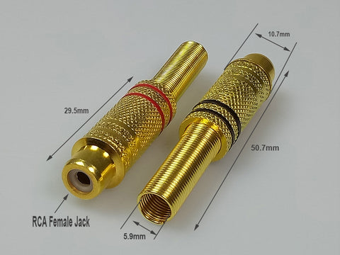 Gold-Plated Metal Spring RCA Sockets - 10 Pack from PMD Way with free delivery worldwide