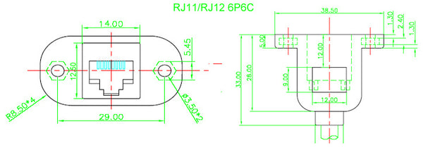 Panel Mount RJ11 RJ12 Bulkhead Socket Cable from PMD Way with free delivery worldwide