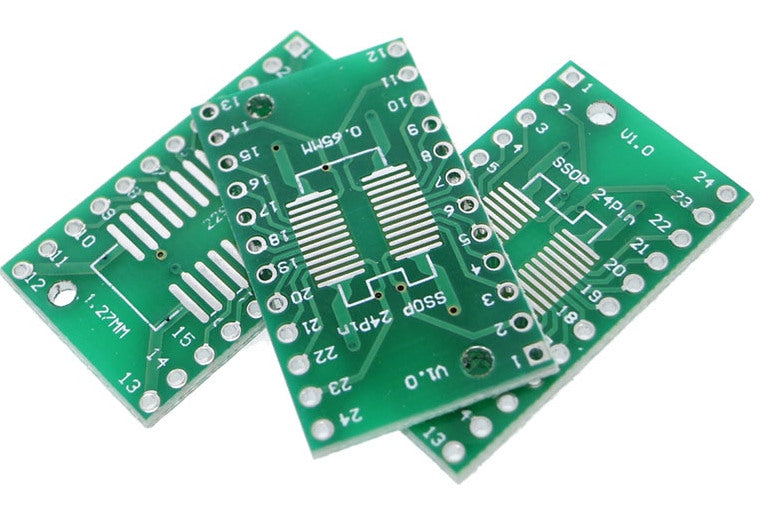 SOIC24 TSSOP24 to DIP Adaptor PCBs in packs of ten from PMD Way with free delivery worldwide