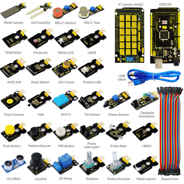 Learn how to use a huge range of sensors and Arduino with the Super Sensor Starter Kit wtih Arduino Mega 2560 from PMD Way - with free delivery, worldwide