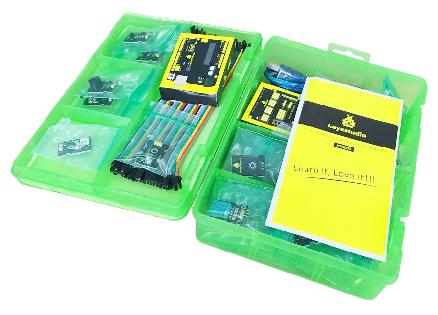 Learn how to use a huge range of sensors with Arduino using the Super Sensor Starter Kit wtih Arduino Uno from PMD Way with free delivery, worldwide