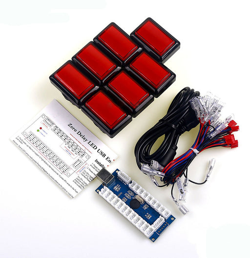 Arcade Buttons to USB Encoder Kit with Seven Rectangular Buttons from PMD Way with free delivery worldwide
