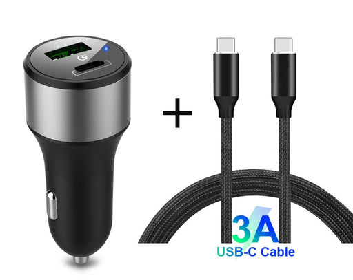 USB Type C PD and QC 3.0 Car Charger with Cable from PMD Way with free delivery worldwide