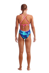 Funkita Girl's Tie Me Tight One Piece- Hawaiian Skies