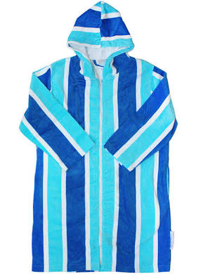 Zip Up Hooded Towel S-M- Blue Stripe