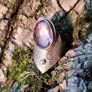 ••◇Arcturian Bloom◇••  Custom Sterling Silver ring with faceted amethyst and faceted herkimer diamond