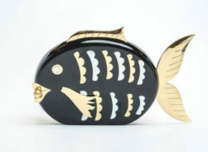Flounder fish clutch with South Sea Pearl