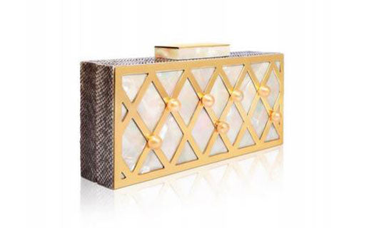 Lattice clutch with South Sea Pearls