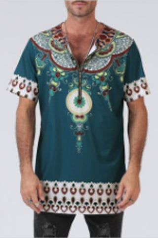 African Tribal T Shirt Men Dashiki Print