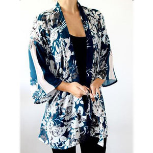 White and blue long kimono