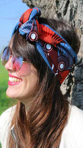 Bordeaux and jeans headband