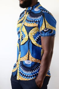 African Blue and yellow shirt
