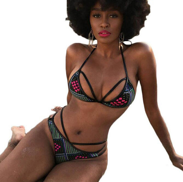 7 Color African Print Vintage High Waist Bikini Set