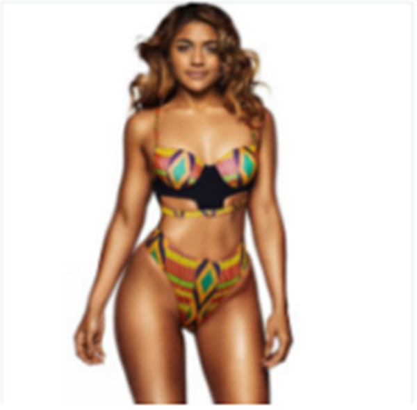 African Tribal Print Swimsuit High Waisted Padded Bikini