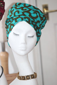 Green and gold turban