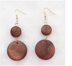 Handmade natural african wood earrings