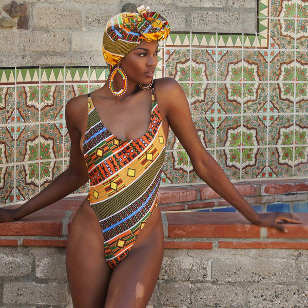 African One Piece Swimsuit Women SwimWear Monokini