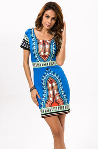 Dashiki Mini Sundress Ladies Clothing