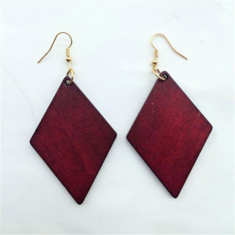 African design red wood earrings