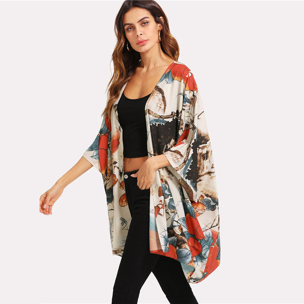 Kimono Women 3/4 Sleeve Casual Long Blouse