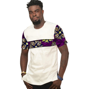 African tops for men o-neck short sleeve shirt patchwork dashiki t-shirts Ankara print Africa style men's clothing
