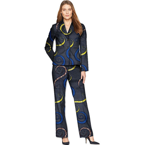 African fashion women's suits ankara print blazers with trousers elegant blazers set wedding tuxedos for ladies