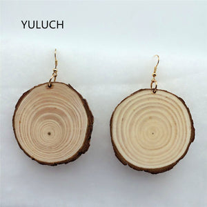 Handmade Natural african wood drop earrings jewelry