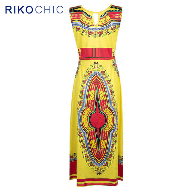 RIKOCHIC Long Dashiki Dresses Sleeveless