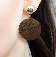 Round Wooden Pendant Earrings for Women's