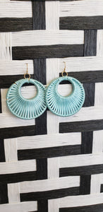 Round Woven Earrings(Teal)