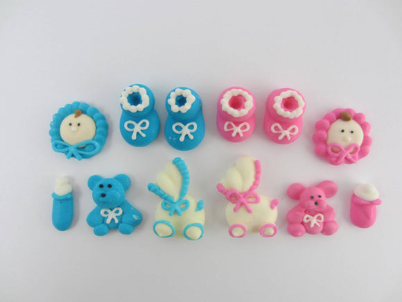 Baby Shower Sugar Decorations Set of 6