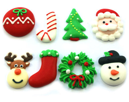 Assorted Christmas Sugar Decorations 25mm (8)