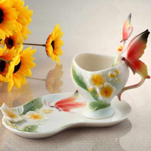 Bone China Ceramic Enamel Coffee Cup European 3D Creative Butterfly And Flower Mug