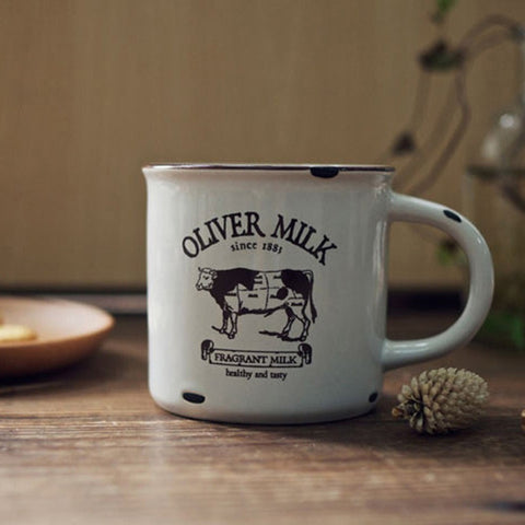 Do The Old Ceramic Imitation Enamel Breakfast Milk Mugs Office Coffee Tea Cups Cows Hedgehog Navigation Patterns