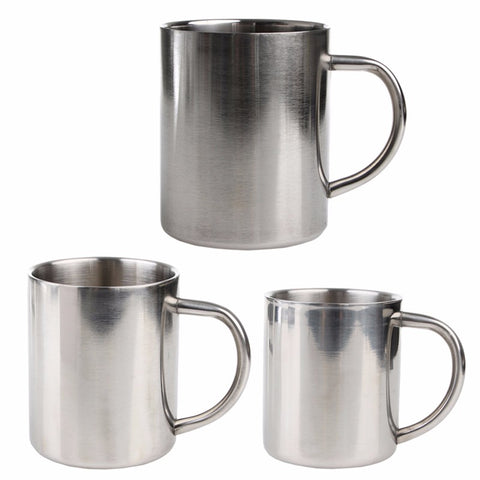 Stainless Steel Coffee Mugs Cappuccino Cups Tea Double Wall 220/300/400ml