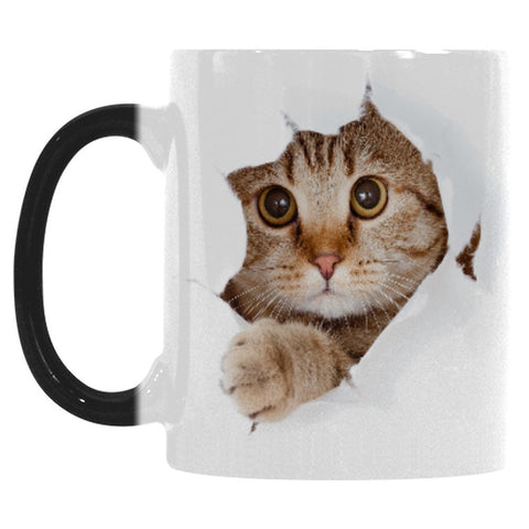 Cute Cat Mug Morphing Coffee Mugs Heat Changing Color Hot Reactive Sensitive Porcelain Black White Ceramic Tea Mug